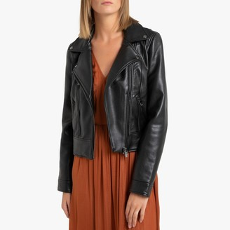 Vero Moda Short Faux Leather Biker Jacket with Pockets