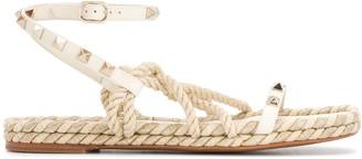 Valentino Rockstud flat ankle-strap sandals
