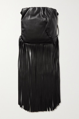 Bottega Veneta Fringe Gathered Leather Shoulder Bag - Black