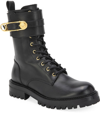 Versace Leather Combat Booties with Medusa Safety Pin