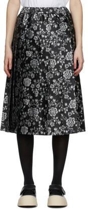 Comme des Garcons Black and Grey Floral Jacquard Skirt