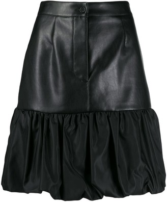 BROGNANO Ruffle-Trim Faux-Leather Skirt