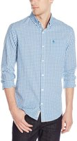 Original Penguin Men's Long-Sleeve Mini Check Plaid Button-Down Shirt