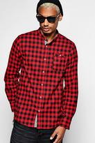 boohoo Long Sleeve Grandad Collar Check Shirt red