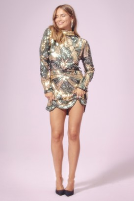 Nasty Gal Womens Sequin That Girl High Neck Mini Dress - Gold