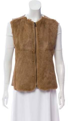 Vince Leather Fur-Accented Vest w/ Tags