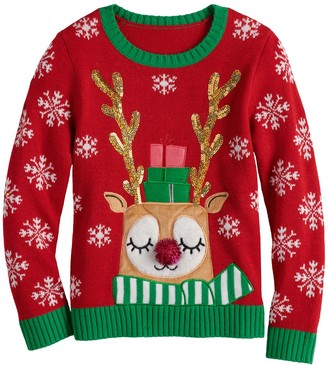 It's Our Time Girls 7-16 Christmas Reindeer Sweater