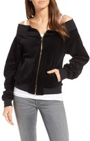 Juicy Couture Women's Off The Shoulder Velour Track Jacket