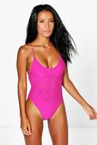 Boohoo San Marino Lazer Cut Cross Back Swimsuit