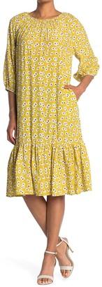 MelloDay Elbow Sleeve Ruffle Hem Midi Dress