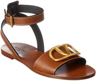 Valentino Vlogo Leather Ankle Wrap Sandal