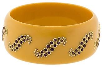 Mark Davis Yellow Bakelite, 18kt Yellow Gold And Gemstone Bangle