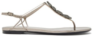 Valentino Maison Snake Crystal-snake Leather Sandals - Womens - Grey
