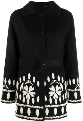 Ermanno Scervino Single-Breasted Woven Floral Coat
