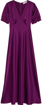 Diane von Furstenberg Avianna Fluted Satin Maxi Dress