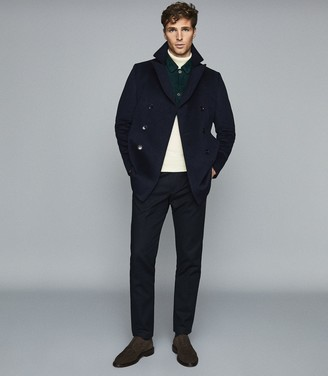 Reiss Monty - Wool Cashmere Blend Rollneck Jumper in Ecru