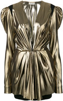 Saint Laurent plunge neck dress - women - Silk/Virgin Wool/metal - 38
