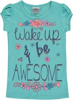 "Beautees Little Girls' ""Wake Up & Be Awesome"" T-Shirt"