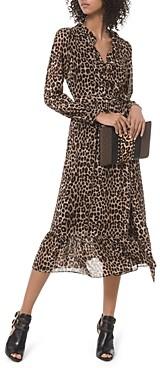 MICHAEL Michael Kors Animal Print Midi Wrap Dress
