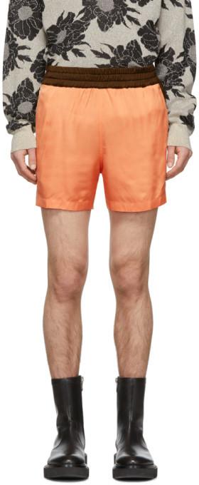 Dries Van Noten Orange Colorblocked Elastic Waist Shorts