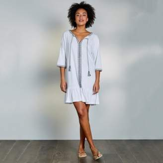 The White Company Cotton-Linen Beaded Cover Up Dress, White, Large