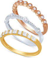 Macy's Tri-Color 3-Pc. Set Stackable Bands (5/8 ct. t.w.)