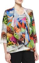 Caroline Rose Butterfly-Printed Draped Jacket, Women's