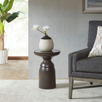 """Madison Home USA Osprey Graphite Accent Table - Dia.14"""" x 20""""H"""