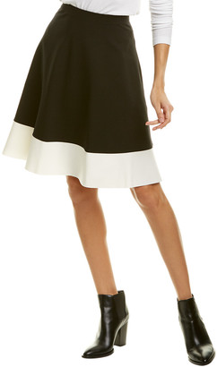 Three Dots Ponte Colorblocked A-Line Skirt