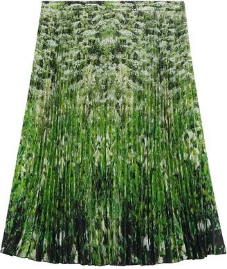 Burberry Meadow-Print Pleated Skirt