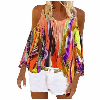 yayay Women Fashion Halter Printing Sexy Pullover Strapless Splicing Long Sleeves Tops Orange