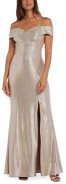 Night Way Nightway Petite Off-The-Shoulder Metallic Gown