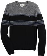 Original Penguin Engineered Stripe Saddle Raglan V-Neck Sweater
