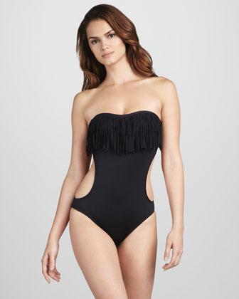 Prima Donna L Space Swimwear by Monica Wise Free Love Fringe Monokini Swimsuit