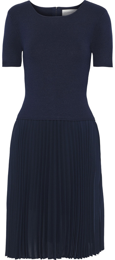 Sachin + Babi Stromine Stretch-knit And Pleated Crepe De Chine Dress