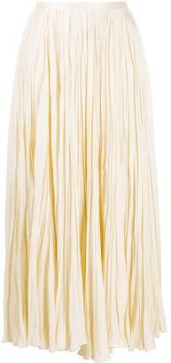 Jil Sander Satin Pleated Midi-Skirt