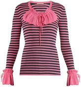 Marco De Vincenzo Ruffle-trimmed striped ribbed-knit sweater