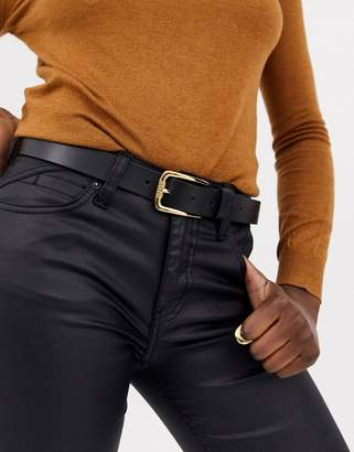 Asos Design DESIGN leather jeans belt with rectangle gold buckle in black