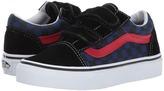 Vans Kids Old Skool V Black/Blue Depths) Boys Shoes