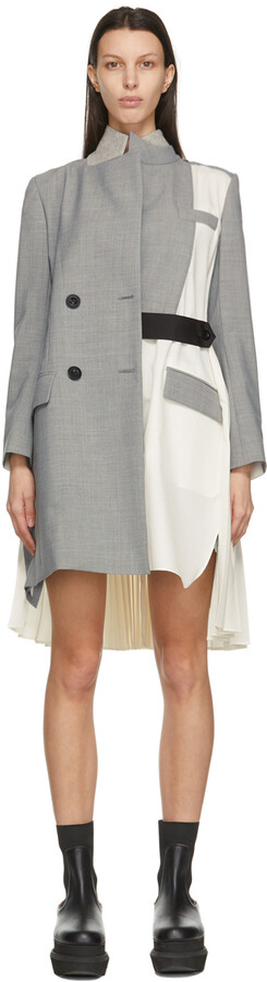Sacai Grey & Off-White Suiting Coat