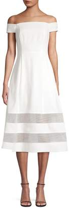 Aidan Mattox Shadow Stripe Off-The-Shoulder Crepe A-Line Dress