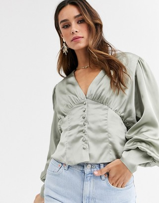 UNIQUE21 satin fitted waist long sleeve blouse-Green