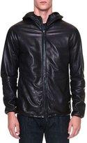 Giorgio Armani Leather Zip-Up Hoodie, Navy