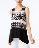 Alfani Petite Mixed-Print Handkerchief-Hem Top, Only at Macy's