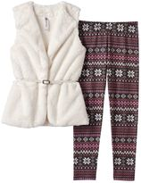 Knitworks Girls 7-16 Faux-Fur Vest & Fairisle Leggings Set