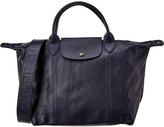 Longchamp Le Pliage Cuir Medium Leather Logo Strap & Short Handle Tote