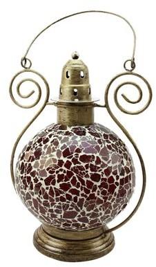 "Northlight 12"" Decorative Red and White Mosaic Glass Tea Light Candle Holder Doom Lantern"