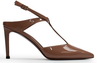 L'Autre Chose Closed Pointed Toe T-Bar Nude Patent Leather Sandals