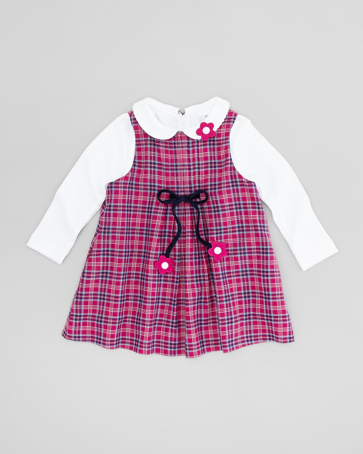 Florence Eiseman Plaid Dress with Bow Detail, Fuchsia/Navy, 2T-3T