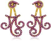Azaara Filigree Delicate Earring Jackets with Pink Pave Cubic Zirconia